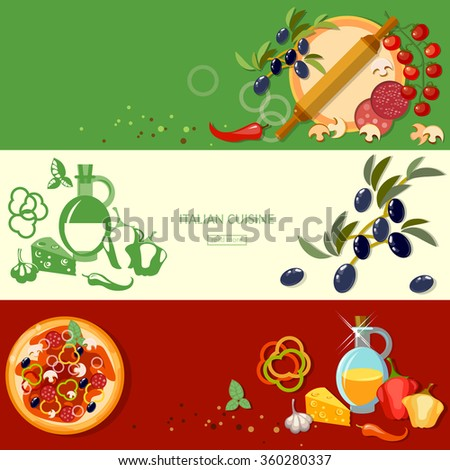 Pizzeria cooking pizza italian cuisine ingredients tomatoes olives cheese banners - stock vector