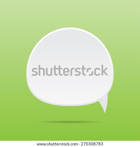 Place for text in the white bubble on the green background. - stock vector