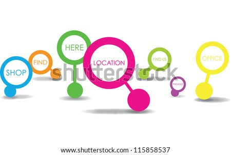 place icons - stock vector