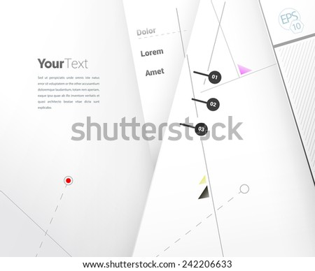 Placeholder text box composition with minimalist abstract lines background and simple menu elements for presentation and simple data website layout - stock vector