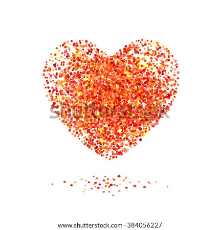 Placer red bright sparkles glittering confetti a heart shaped on a white background for Valentines Day - stock vector