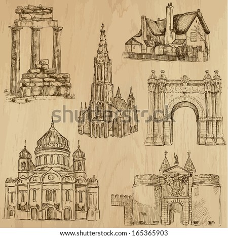Places and Architecture around the World (no.10) - Collection of hand drawn illustrations (originals, no tracing). Each drawing comprises of two layers of outlines, the colored background is isolated. - stock vector