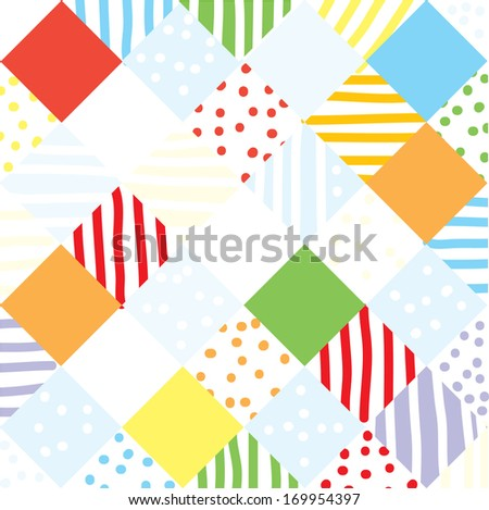 Plaid funny seamless patchwork design - stock vector