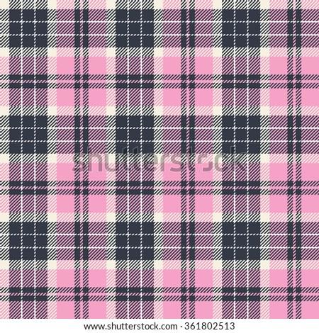 Plaid  (tartan) seamless pattern. Three colors (pink,dark blue,white). - stock vector