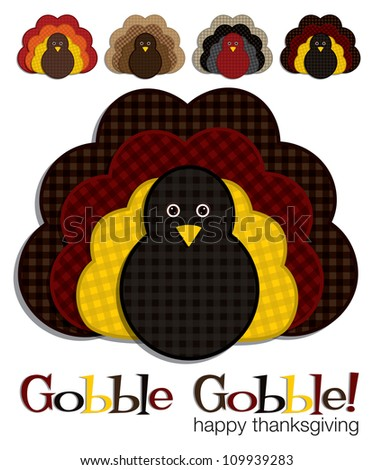 Plaid turkey stickers in vector format. - stock vector