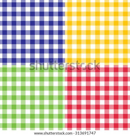 Plaid vector gingham seamless pattern in four different bright colors. Isolated, easy editable. - stock vector