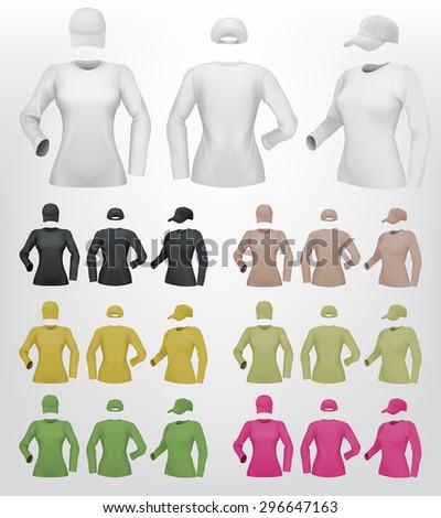 Plain female long sleeve shirt template on isolated background. - stock vector