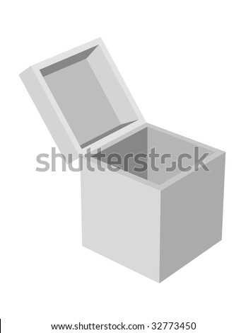 Plain gray box with open lid on white. - stock vector
