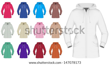 Plain hooded jacket template - stock vector