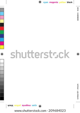 plain paper with all the printer marks - stock vector