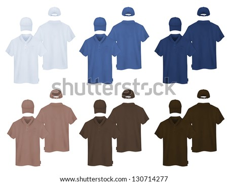 Plain polo shirt and a baseball cap template. - stock vector
