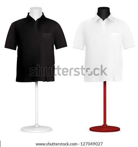 Plain polo shirt on mannequin torso template. - stock vector