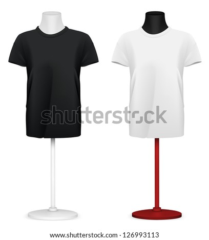 Plain t-shirt on mannequin torso template - stock vector