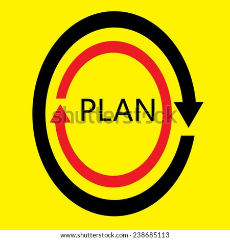 Plan business on yellow background vector : business concept - stock vector