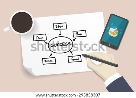 plan chart drawn by hand on a white paper - stock vector