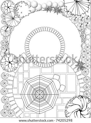 Plan of Landscape and Garden - stock vector