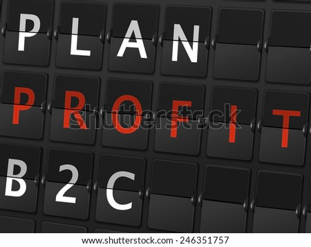 plan profit B2C words on airport board background - stock vector