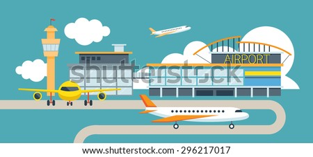Plane and Airport Flat Design Illustration Icons Objects, Station Concept - stock vector