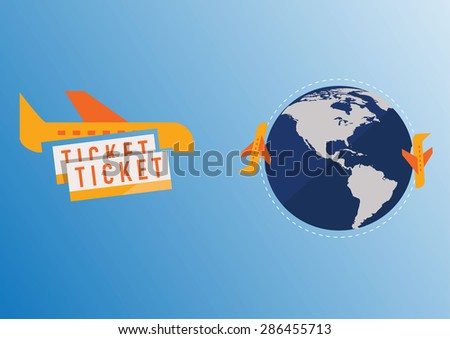 Plane around the world. Vector Illustration  - stock vector