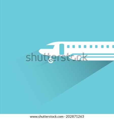 plane, blue shadow and flat theme - stock vector