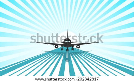 plane coming in to land - stock vector