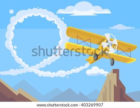 Plane drawing message. Vector flat cartoon illustration - stock vector