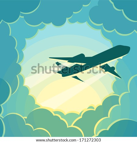 Plane flies through the clouds. - stock vector