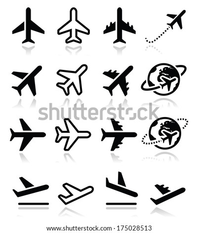 Plane, flight, airport  icons set - stock vector