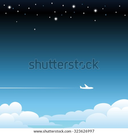 Plane flying above clouds - stock vector