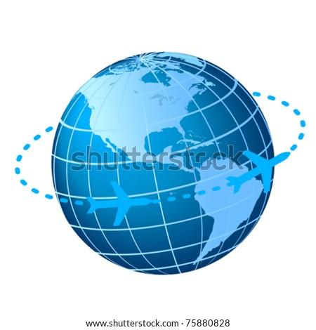 Plane flying around the globe - stock vector
