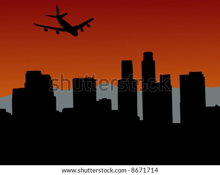 plane flying over Los Angeles skyline with mountains illustration - stock vector