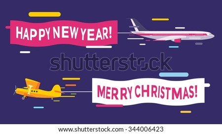 Plane flying with Merry Christmas banners. Christmas, New Year planes banners. Plane flying Christmas greeting Card. Plane vector, plane isolated, plane silhouette. Christmas, New Year greeting card - stock vector