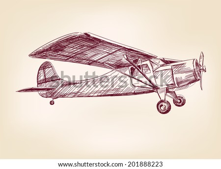 plane  hand drawn vector llustration realistic sketch - stock vector