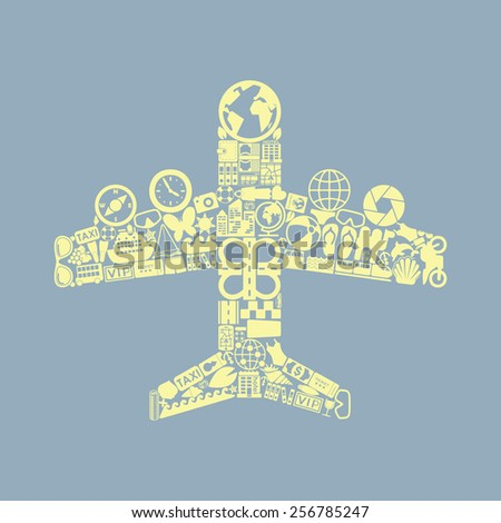plane icon - stock vector