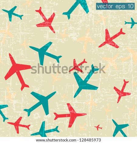 Plane icon on vintage background - stock vector
