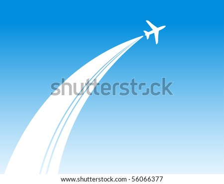plane in blue sky background - stock vector