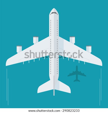 Plane or airplane in the sky vector illustration in flat style. Icon White, flying plane, top view.  - stock vector