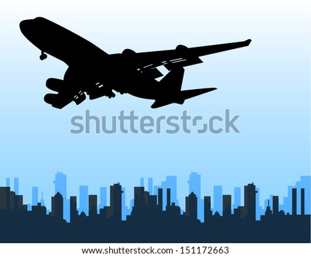 plane over the city - stock vector