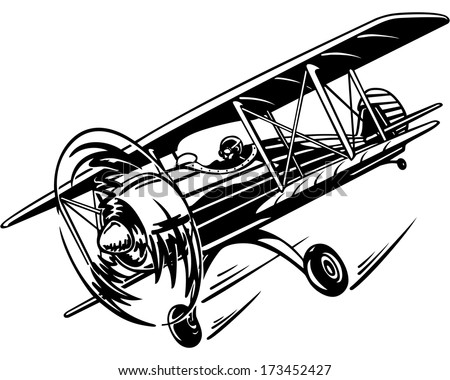 plane, retro biplane with a propeller in the air, flying in the sky, vector illustration - stock vector