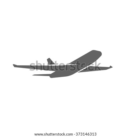 Plane taking off silhouette vector illustration, black airplane take off shape, jet airliner takeoff, plane departure modern design isolated on white background - stock vector