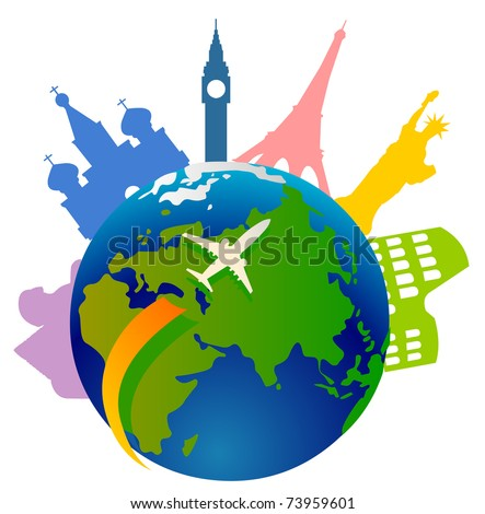 Plane traveling around the world and a few important landmarks from all over the world - stock vector
