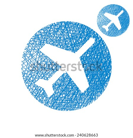 Plane vector simple single color icon isolated on white background with sketch lined hand drawn texture. - stock vector
