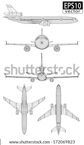 Plane Wireframes | EPS10 Vector - stock vector