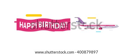 Plane with banner congratulation and yellow plane with banner. Plane with banner propeller transport cartoon flat flight message. Flying vintage plane with the banner template for text vector. - stock vector