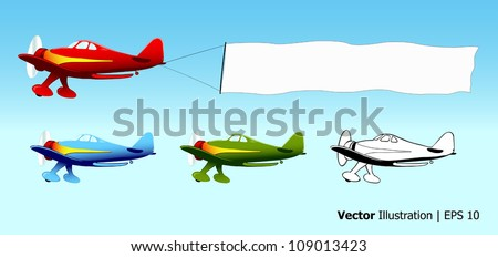 Plane with blank sky banner, aerial advertising, aircraft in different colors, vector illustration - stock vector