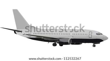 plane with landing gears illustration - stock vector