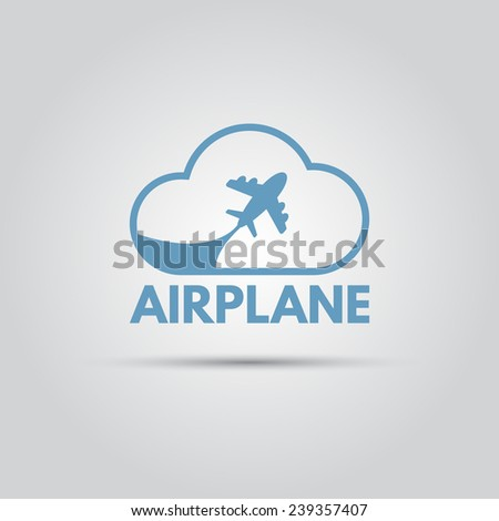 plane within the cloud vector logo for travel company - stock vector