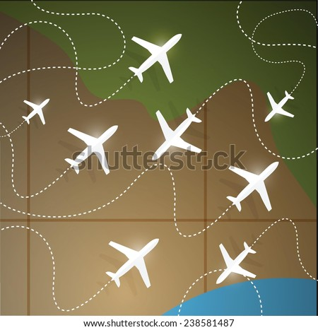 planes flying around the earth illustration design over a map background - stock vector
