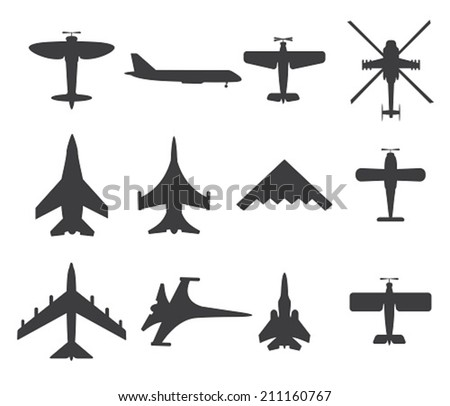 Planes icons, set on white background - stock vector