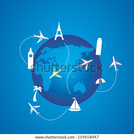 Planet and tourism - stock vector